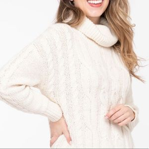Cowl Neck cable sweater